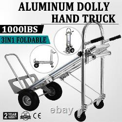 1000 LB 3 In 1 Aluminum Hand Truck Dolly Utility Cart Folding Multifunction