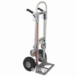 1000 Lb. Capacity Convertible Hand Truck Strong Pneumatic Tires Cushion Steel