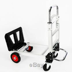 2 In 1 Aluminum Hand Truck Dolly Utility Cart Folding Multifunction 200KG