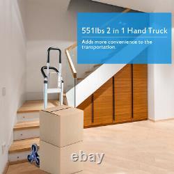 2 In 1 Hand Truck Stair Climber Hand Truck Aluminum Cart Dolly 550LBS