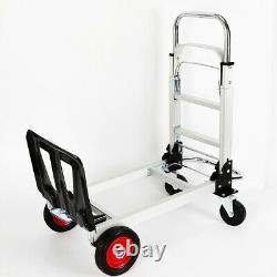 2 in 1 Aluminum Alloy Folding Hand Truck Trolley Platform Cart 100kg Capacity US