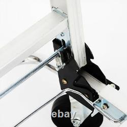 2 in 1 Aluminum Four Wheel Hand Cart Truck Foldable Regular Dolly 100kg Capacity