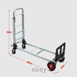 2 in 1 Aluminum Four Wheel Hand Cart Truck Foldable Regular Dolly 200kg Capacity