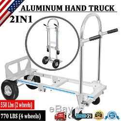 2 in 1 Aluminum Hand Truck Convertible 770LBS Collapsible Trolley Dolly Platform