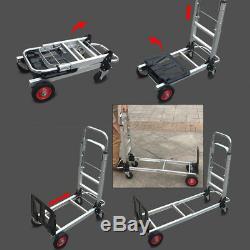 2 in 1 Aluminum Hand Truck Convertible Folding Dolly Platform Cart 200kg
