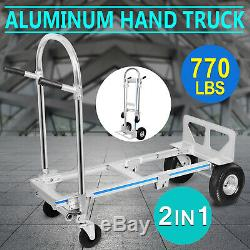 2 in 1 Aluminum Hand Truck Dolly 770lbs Weight Capacity Convertible Utility Cart