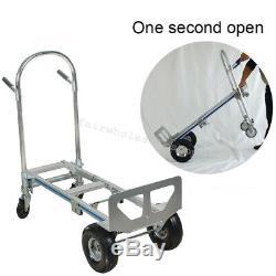 2 in1 Aluminum Hand Truck 770LBS 51Inch Fold 2Wheel Dolly 4 Wheel Cart Easy Move