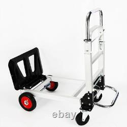 2 in1 Aluminum Hand Truck Convertible Folding Dolly Platform Cart 4 Wheeler New