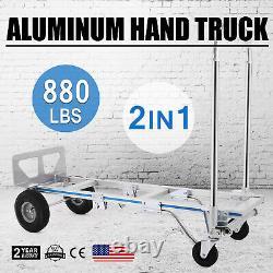 2in1 Aluminum Hand Truck Cart Convertible Folding Utility Cart 880LBS Capacity