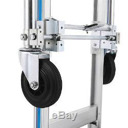 2in1 Aluminum Hand Truck Cart Convertible Warehouse Trolley 4 Wheels Foldable