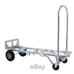 2in1 Aluminum Hand Truck Dolly 880 LB Utility Cart 400KG Convertible Foldable