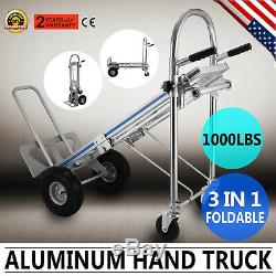 3 In 1 Aluminum Hand Truck Dolly Utility Cart Folding Multifunction Max 1000lbs