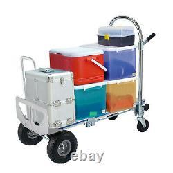 3 in 1 Aluminum Folding Sack Truck Hand Trolley Heavy Duty Cart Inflatable Wheel