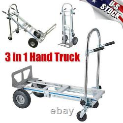 3-in-1 Aluminum Hand Truck Portable Folding Dolly Platform Trolley Utility Cart