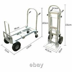3 in1 Aluminum Folding Hand Truck Trolley Dolly Cart 2 Wheel or 4 Wheels Cart US