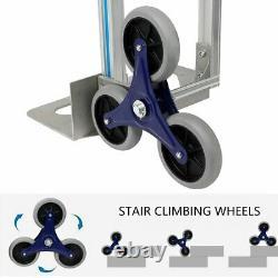 550 LBS Climbing Stairs Truck Hand Trolley 6-Wheels Folding Aluminum Dolly Cart