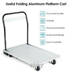 Aluminium Hand Truck Heavy Duty Folding Platform Dolly Foldable Cart 770 lbs New
