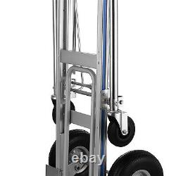Aluminum 3 in 1 Convertible Hand Truck 1000LBS Dolly with 10 Pneumatic Wheels