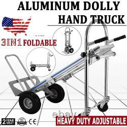 Aluminum Hand Truck Dolly 3IN1 Heavy Duty 2143 lbs Capacity Pneumatic Wheels New