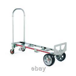 Convertible Aluminum Modular Hand Truck Microcellular Foam Wheels Vertical Horiz