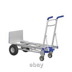 Convertible Heavy Duty Hand Truck 3 in 1 Dolly Aluminum 4 Wheel Cart 1000 Lb NEW