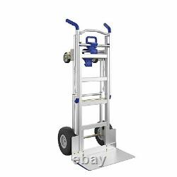 Cosco 3-in-1 Assist Series Aluminum Hand Truck with Flat Free Wheels, Indigo/Blue