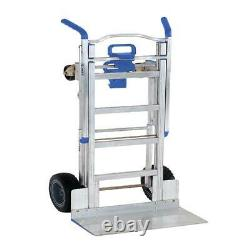 Cosco 3-in-1 Assist Series Aluminum Hand Truck with flat free wheels, Silver and B