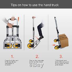 Fullwatt 264 Lb Capacity Folding Hand Truck And Dolly Cart Aluminum Portable Fol