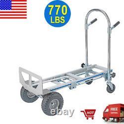 Heavy Duty 3 In 1 Aluminum Hand Truck Dolly 770lb Stair Climbing Cart Folding US