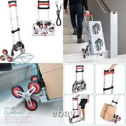 Navaris Stair Climbing Dolly Cart Lightweight Foldable Aluminum Hand Truck W Cli