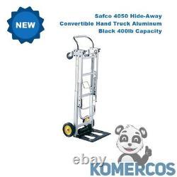Safco 4050 Hide-Away Convertible Hand Truck Aluminum/Black 400lb Capacity
