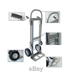 USA 2 in 1 Aluminum Hand Truck 770LBS 51Inch Foldable 2 Wheel Dolly 4 Wheel Cart