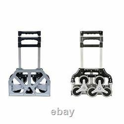 XINGLANG Folding Hand Truck, Aluminium Luggage Cart, 165LB Heavy 6 wheels Black